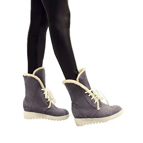 Preisvergleich Produktbild TianWlio Stiefel Frauen Herbst Winter Schuhe Stiefeletten Boots Hohe Schneestiefel Cross-Strap Damenstiefel aus Baumwolle Lässige Schnürschuhe Grau 43