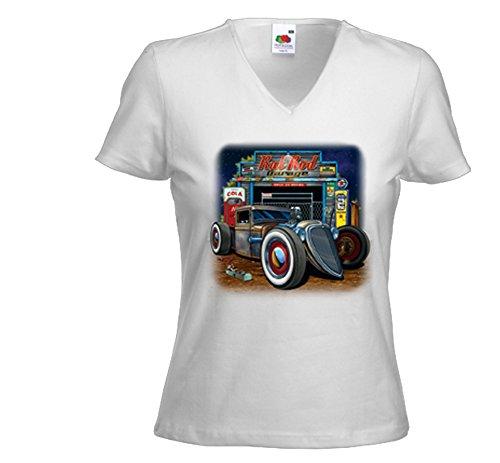 Fruit of the Loom Hot Rod Damen T-Shirt Rat Rod Garage Weiß Rockabilly Vintage V8 Gr. XL (Rat Rod Garage)