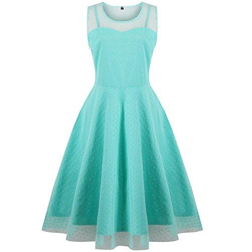 Oriention Plus Größe Elegant Damen festliche Kleider Spitzenkleid Cocktailkleid Knielanges Vintage 50er Jahr hochzeit Party (EU 46=TAG 2XL, Green) (Frauen Der 50er Jahre)