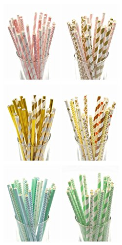 Lot Multicolor Design Papier Strohe f¨¹r Geburtstag, Hochzeit, Baby-Dusche-Dekoration-Partei Creative-Trinkhalme [RetroPatternGold] Supplies ()