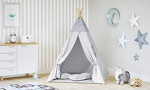 �r Kinder Spielzelt Indianer Baumwolle 3 Kissen Kinderzelt drinnen draußen 8702 , Farbe:Grau- Sterne ()