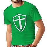 lepni.me T-shirt pour hommes Chevaliers Templiers - Chevalier des Templiers (Medium Vert Blanc)