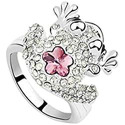 Blisfille Anillos de Diamantes Hombre Joyería de Anillo de Flor de Rana Anillo de Chapado en Oro Anillo de Luz Rosa Roja de La Talla 13,5