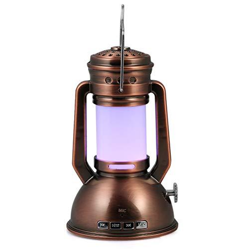 LNHYX Tragbare Retro Led Nachtlaterne Licht Mit Dimmer Bt Lautsprecher Unterstützung Tf Karte Fm Hängen Laterne Licht Lampe (Mit Laterne Karte)