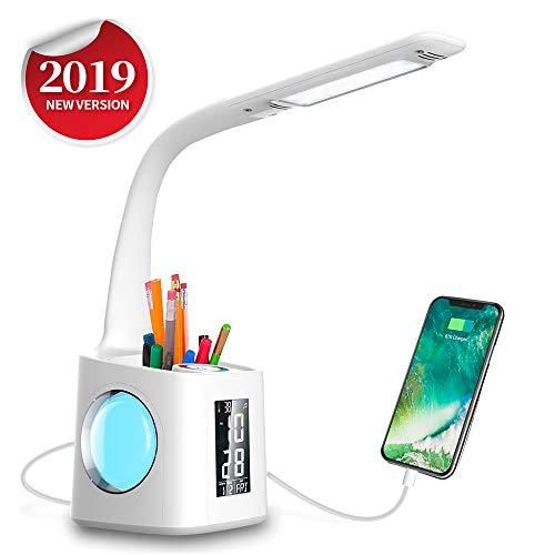 Wanjiaone 10W Dimmbar Led Schreibtischlampe, Augenschutz Stifthalter Tischleuchte mit Touchfeld für Nachtlicht und 3 Helligkeitsstufen, Schwanenhals Schreibtischlampe mit LCD Display für Studie, Weiß