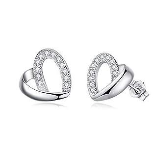 Abiguelle Earrings–Stud Earrings Silver Earrings 925Sterling Silver Cubic Zirconia Stud Earrings For Women, Love Heart Dangle Drop Earrings Gifts for Women Girls