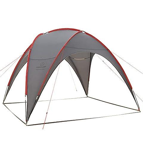 Justcamp Rockford Pavillon sehr kompakt und leicht für Camping und Garten 280 x 280 cm - grau