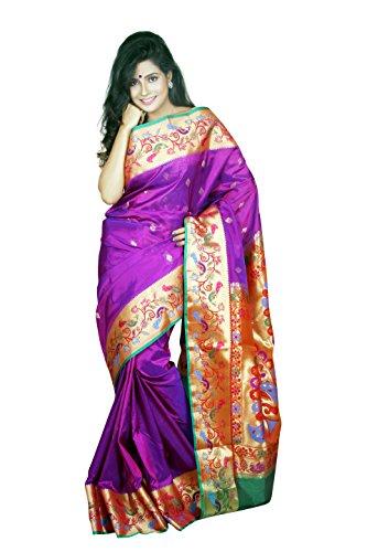 ARUNAFASHIONS Women's Raw Silk Saree (Bigbrnew-Purple-Green _Purple)