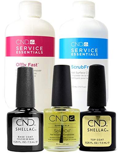 CND Shellac Treatment Kit Composto da Scrub, Top, Base Coat, Solar Oil and Remover Wraps