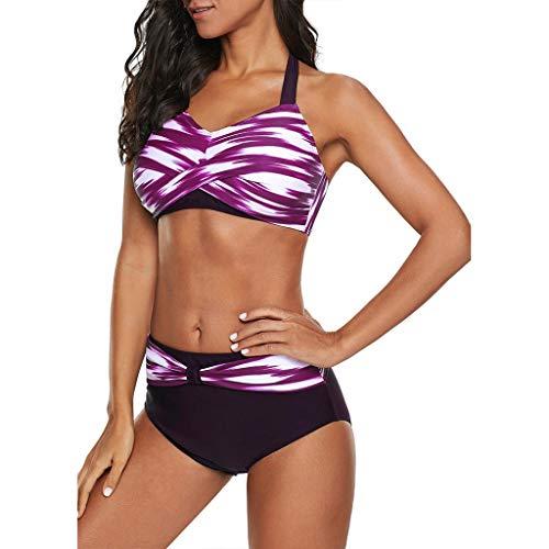 OIKAY Damen Bikini für Mollige Badeanzug Große Größen Polka Dots Push Up Strand Bikini Set Bademode Bikinioberteil mit Nackenträger