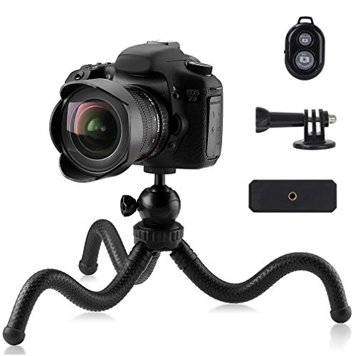 Phinistec 30cm Trépied Smartphone Flexible Mini Trépied Portable pour Caméra, iPhone, Gopro avec Adaptateur de Téléphone et Gopro et Télécommande Bluetooth pour Photo et Vidéo pour Le Voyage