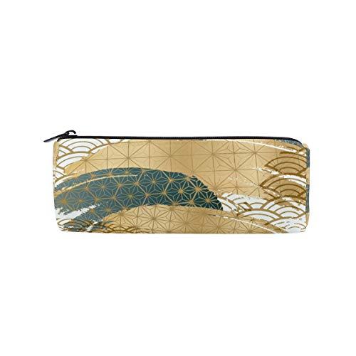 Bonipe Federmäppchen, Retro-Stil, japanische Welle mit Fischschuppen, Schule, Schreibwaren, Stiftebox, Reißverschluss