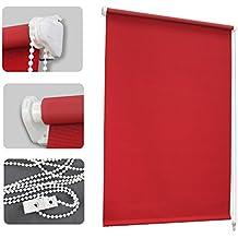 Auralum - 70 x 120cm Estor opaco para ventana (fijación sin taladrar), Estor enrollable Cortina, Prevenir Ultravioleta Ajustable 100% Poliéster - Rojo