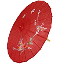 Sombrilla Parasol Oriental Bambú Rojo Flor Ciruela Diámetro 80cm