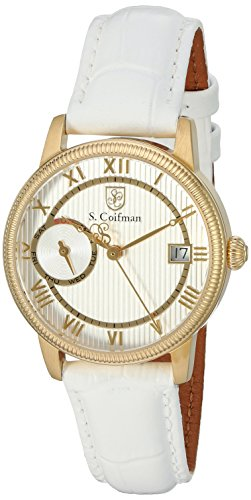 S. Coifman Women's SC0335 Lady Leather Analog Display Swiss Quartz White Watch