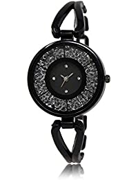 Styletime Round Dial Analogue Black Dial Black Stainless Steel Chain Strape Fashion Wrist Watch For Women & Girls