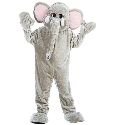 Costume mascotte elefante testona staccabile