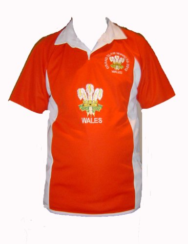 Riesige Feders Rugby-Shirt Wales Grand Slam 2012 Winners Rugby-Stil 6 Nationen, New Gr. Large, rot/weiß