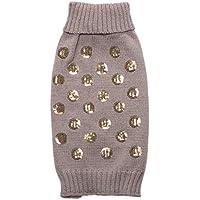 POPETPOP Ropa de suéter para Perros Squama Design Dog Puppy Winter Ropa de Abrigo para Perros Tamaño L (Gris)
