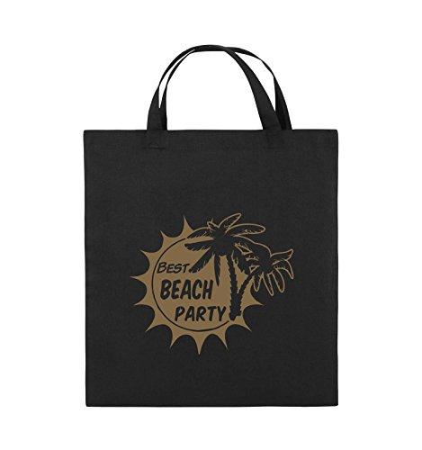 Comedy Bags - BEST BEACH PARTY - PALMEN - Jutebeutel - kurze Henkel - 38x42cm - Farbe: Schwarz / Silber Schwarz / Hellbraun