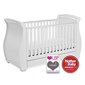 Babymore Bel Sleigh Cot Bed Dropside with Drawer (White) Children's Beds Home Bed with barriers - internal dimensions 140x70, 160x80, 180x80, 180x90, 200x90 (External dimensions: 147x77, 167x87, 187x87, 187x97, 207x97) Bed frame with load capacity of 150 kg, Fittings + installation instructions Universal bed entrance - right or left side, front barrier can be removed at later stage. 5
