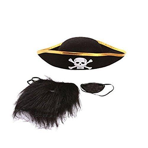 Schiffskapitaen Zubehoer - SODIAL(R) Cosplay Halloween Piraten Schiffskapitaen Zubehoer (Piratenhut + Brille + Bart)
