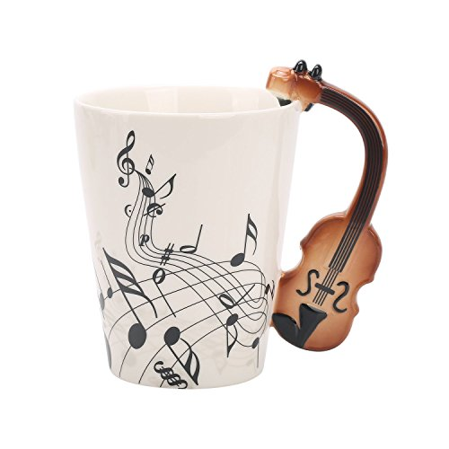 BUYNEED Schwarz Geige Musik Neuheit Kreativ Keramik Tassen Teetassen Kaffeetassen Instrument Tasse...