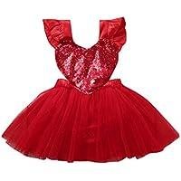 ZHMEI Niña Traje Fiesta Vestido | Faldas de Tul de Lentejuelas con Volantes de corazón de San Valentín para bebés y niños pequeños Vestido de Princesa 0-5 años