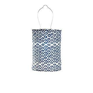 Allsop Home and Garden Soji Tribal Cylinder, LED Outdoor Solar Lantern, Handmade with Weather-Resistant UV Rated Fabric, Stainless Steel Hardware, Chinese Style Light, 1-Count