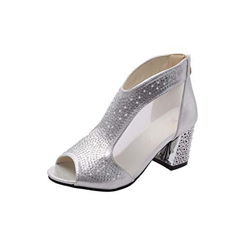 24720781fc2 Fashion 2019 Women Sandals Bling Mid Heel Diamond Summer Square Heel Casual  Women Shoes Wedding Shoes Women Zapatos Mujer **474 Beige 7