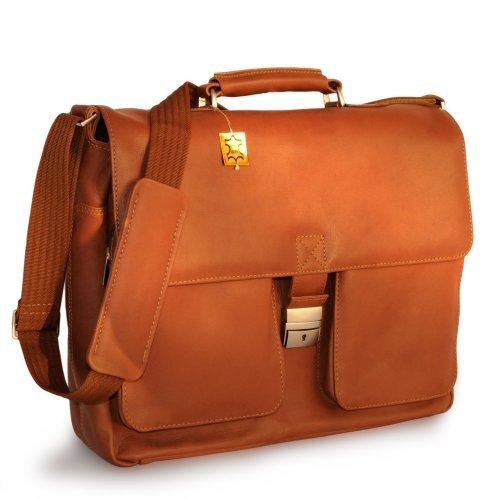 Elegante Aktentasche Größe L / Laptoptasche bis 15,6 Zoll, aus Nappa-Leder, für Damen und Herren, in verschiedenen Farben, Jahn-Tasche 750 Cognac