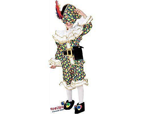 Veneziano novidea costume vestito carnevale bambino arlecchino bambina 3 4 5 6 7 anni (3/4 anni)
