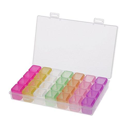 ounona Schmuck Organizer Kunststoff Aufbewahrungsbox mit herausnehmbaren Trennwänden Ringe Ohrringe Stauraum Halsketten (Multicolor)