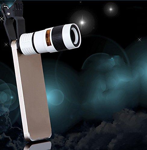XIN Handy-Kamera Teleskop 8-Fach Handy-Teleskop Schwarz und Weiß Orange Kreis Handy Externe Linse,Weiß