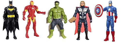 Storio Avengers Toys Set of 5 - Batman Ironman Hulk Thor and Captain America - Infinity War 4 Hero Collection (Multicolour) (Edition 2)