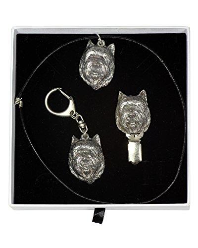 Cairn Terrier, Hund Schlüsselring, Halskette und clipring in Sarg, Elegance Set, Limitierte Auflage, ArtDog -