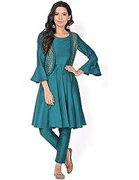 Banarasi Art Silk Kurta And Jacket With Art Silk Pants