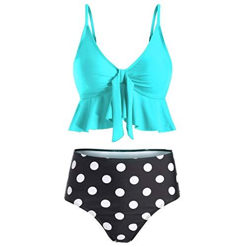 Flirt-perlen Rock (ZEELIY Bikini Damen Set Geteilter Badeanzug Rüschen Zweiteilige Bademode mit Bikini High Waist Retro Hoher Taille Tupfendruck Drucken Strandkleidung Bikinihose(Large,Blau))