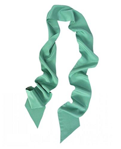 prettystern Halstuch Breit 10 Cm Skinny 200cm Seidenschal 2-lagig Seide Uni-farbe Krawattenschal 7. Grasgrün