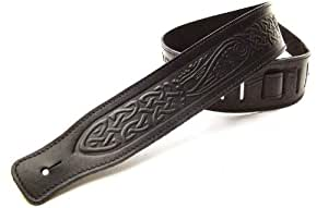DBM Italian Leather Guitar Strap: Black 'Celtic' Strap (Up to 1.33m) for Electric / Acoustic / Bass Guitar