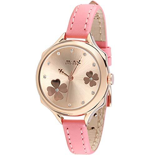 Flor Diamante de imitación Escala Relojes de Mujer, Oro Piel sintética Relojes Analógicos, Rosa