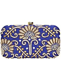 Hand Embroidery Metal And Thread Clutch - Sodalite Blue, Golden And Bright White Color- Handcrafted Clutch, Handembroidered...