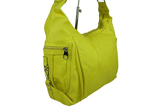 Linda' 0259 große Damen Tasche, Schultertasche in 6 Farben 37x30x17 Gelb