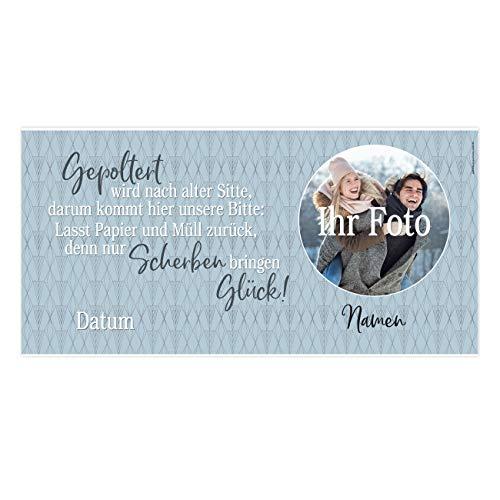 Herz & Heim® XXL Banner zum Polterabend mit Namen und Datum und Foto der Brautleute Kunststoff