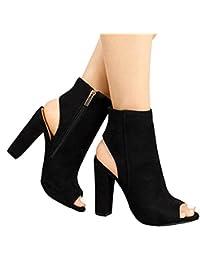 Mine Tom Minetom Verano Botines Shoes Mujer Sandalias Tacon Ancho Suede Caña Baja Botas con Cremalleras Oficina Negro EU 37