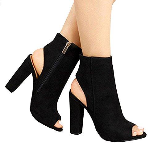 Caviglia Minetom Sandali Nodo Spessi Sexy In Profonda Ampie Alti Tacchi Bocca Tacco Ete Donna Pattini Camoscio Neri Dimensioni Poco rOqY1rx
