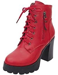 Botas de Mujer de tacón Alto Moda con Cremallera con Cordones de Punta Redonda Zapatos Bootie