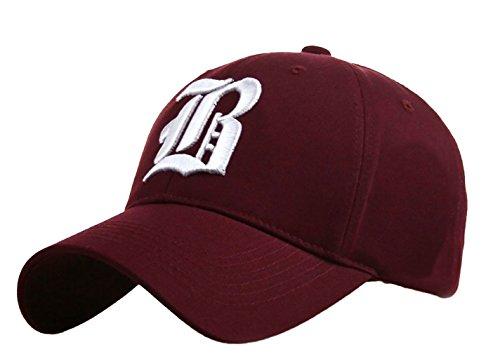 Unisex Damen Herren Baseball Cap Caps Gothic Letter B Hüte Mützen Snap Back Hat Hats (B Dark ()
