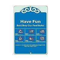 "WENNUNA Pool Rules No Dive Run Plush Alone Swim Yell Scream Glass 8""x 12"" Aluminum Metal Signs"
