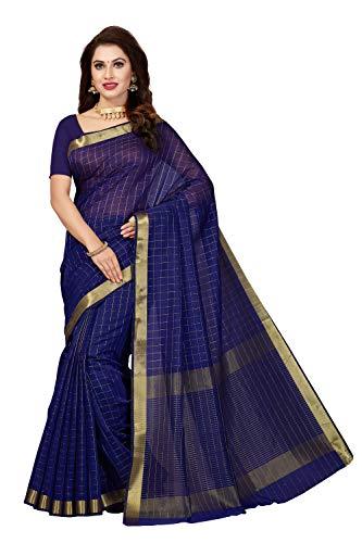 Rani Saahiba Poly Cotton Zari Woven Saree (SKR4588_Navy Blue)